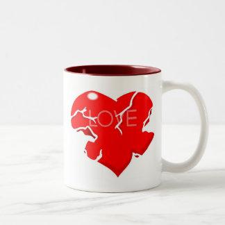 Cracked + Broken Heart Two-Tone Coffee Mug