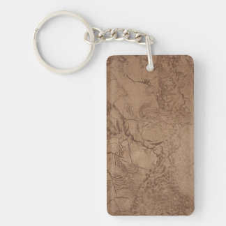 Cracked Brown Suede Pattern Double-Sided Rectangular Acrylic Keychain