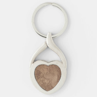 Cracked Brown Suede Pattern Silver-Colored Heart-Shaped Metal Keychain