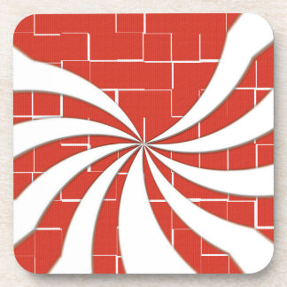 Cracked Candy Cane - Red Coaster