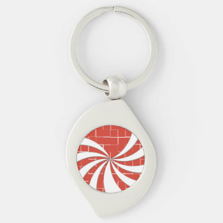 Cracked Candy Cane - Red Silver-Colored Swirl Metal Keychain