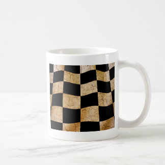 Cracked chequered flag classic white coffee mug
