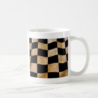 Cracked chequered flag coffee mug
