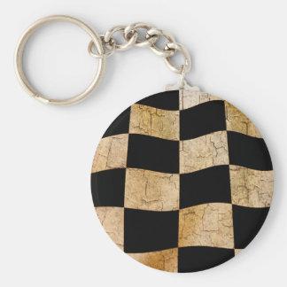 Cracked chequered flag keychain