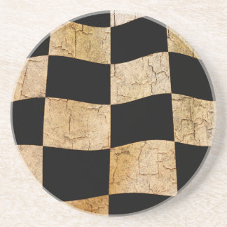 Cracked chequered flag sandstone coaster