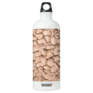 Cracked clay earth texture aluminum water bottle