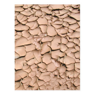 Cracked clay earth texture postcard