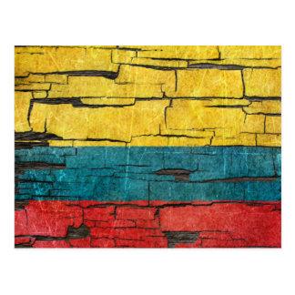 Cracked Colombian Flag Peeling Paint Effect Postcard