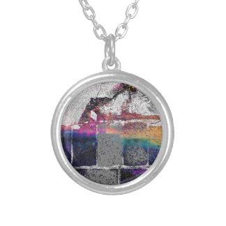 Cracked Concrete Series Round Pendant Necklace