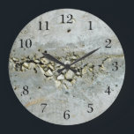 "Cracked concrete wall with small stones large clock<br><div class=""desc"">Original - by YANKAdesigns! High resolution picture of a crack in a concrete wall filled with small stones. Very unusual design for people who love to be different.</div>"