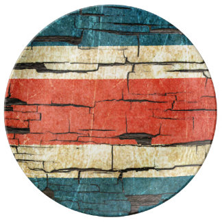 Cracked Costa Rica Flag Peeling Paint Effect Porcelain Plate