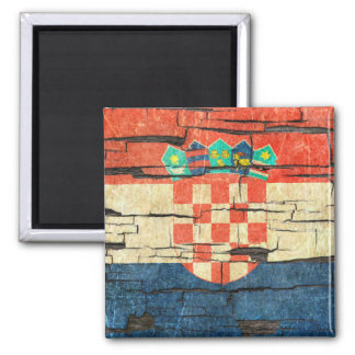 Cracked Croatian Flag Peeling Paint Effect 2 Inch Square Magnet