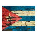 Cracked Cuban Flag Peeling Paint Effect Postcard