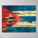 Cracked Cuban Flag Peeling Paint Effect Poster
