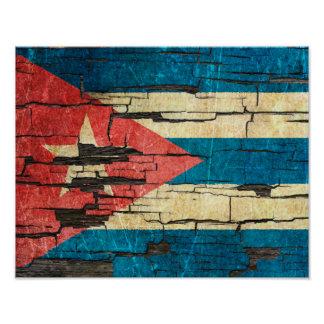 Cracked Cuban Flag Peeling Paint Effect Poster