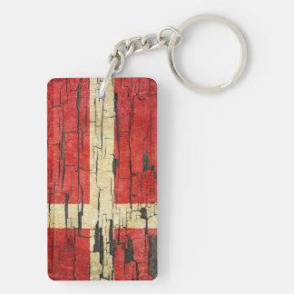 Cracked Danish Flag Peeling Paint Effect Keychain