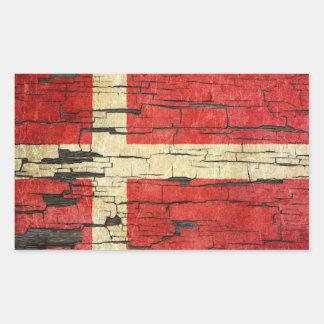 Cracked Danish Flag Peeling Paint Effect Stickers