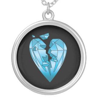 cracked diamond bling bling necklace