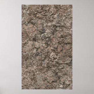 Cracked Dry Desert Ground Floor Texture Background Poster