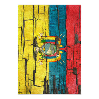 Cracked Ecuadorian Flag Peeling Paint Effect 3.5x5 Paper Invitation Card