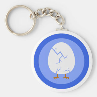 Cracked Egg Key-chain Basic Round Button Keychain
