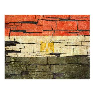 Cracked Egyptian Flag Peeling Paint Effect Postcard
