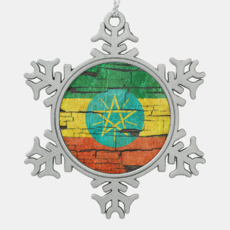 Cracked Ethiopian Flag Peeling Paint Effect Snowflake Pewter Christmas Ornament