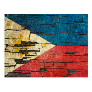 Cracked Filipino Flag Peeling Paint Effect Postcard
