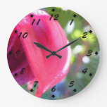 Cracked Fuschia Round Clocks