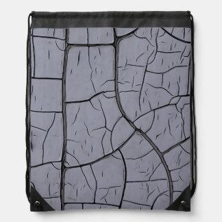 Cracked Gray Drawstring Backpack