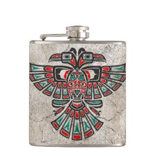 Cracked Haida Two Headed Spirit Bird Hip Flask