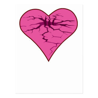 cracked heart post card