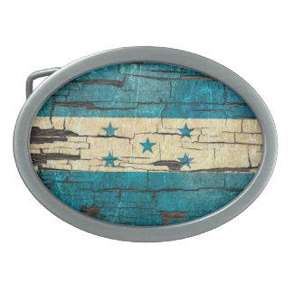 Cracked Honduras Flag Peeling Paint Effect Oval Belt Buckle