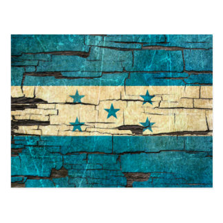Cracked Honduras Flag Peeling Paint Effect Postcard