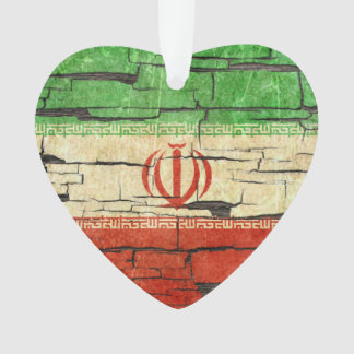 Cracked Iranian Flag Peeling Paint Effect Ornament