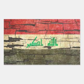 Cracked Iraqi Flag Peeling Paint Effect Rectangular Sticker