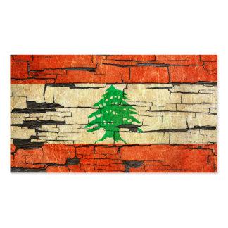 Cracked Lebanese Flag Peeling Paint Effect Business Card