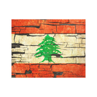 Cracked Lebanese Flag Peeling Paint Effect Gallery Wrap Canvas