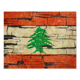 Cracked Lebanese Flag Peeling Paint Effect Poster