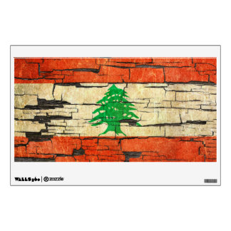Cracked Lebanese Flag Peeling Paint Effect Room Graphic