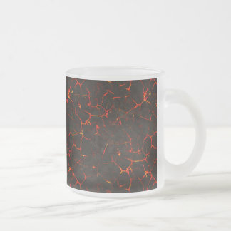Cracked Molten Ground Rock Volcano Lava Frosted Glass Coffee Mug