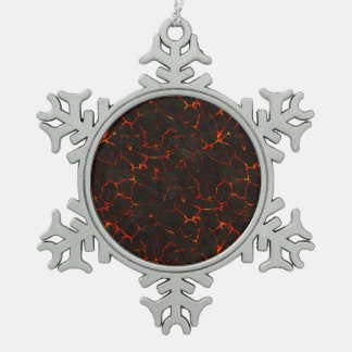 Cracked Molten Ground Rock Volcano Lava Snowflake Pewter Christmas Ornament