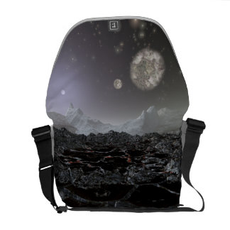 Cracked Moon Planet View Courier Bags
