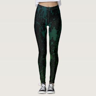 Cracked Paint Blue/Green Leggings