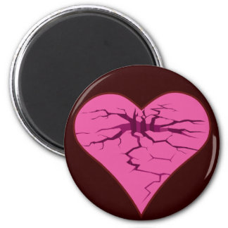 cracked pink heart 2 inch round magnet