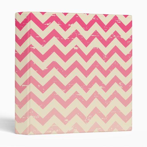 Cracked Pink Ombre Zigzag Binder