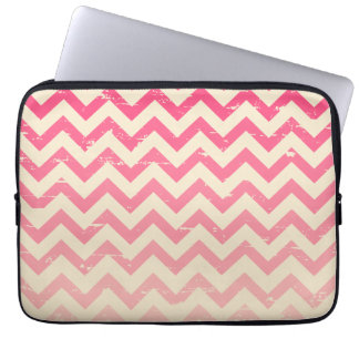 Cracked Pink Ombre Zigzag Electronics Bag Laptop Computer Sleeve