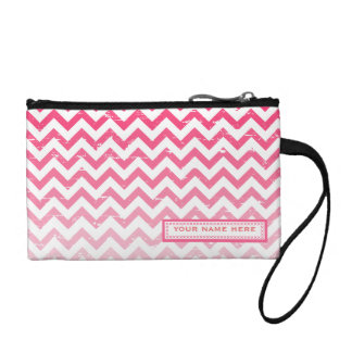 Cracked Pink Ombre Zigzag Personalized Coin Purse