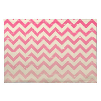 Cracked Pink Ombre Zigzags Place mat Cloth Placemat