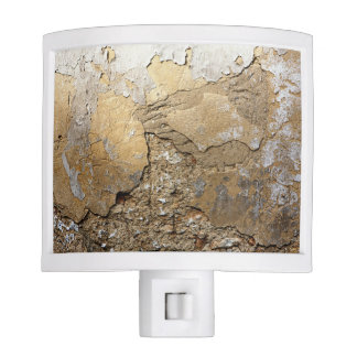 Cracked plastered wall. night light
